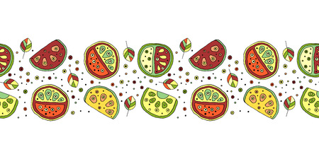 Seamless vector hand drawn childish pattern, border, with fruits. Cute childlike watermelon with leaves, seeds, drops. Doodle, sketch, cartoon style background. Line drawing Endless repeat swatch