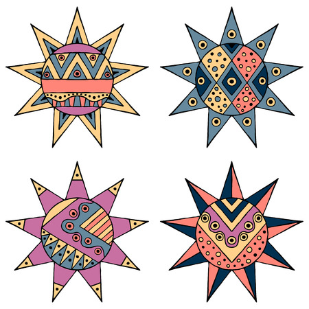 Set of vector hand drawn decorative stylized childish tribal sun with lights. Doodle style, graphic illustration. Ornamental cute line drawing. Series of doodle, cartoon, sketch illustrations.