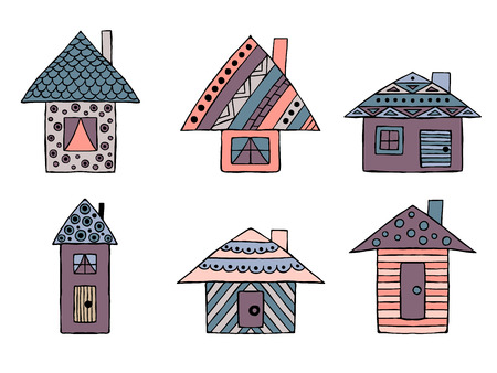 Set of vector hand drawn decorative stylized childish houses. Doodle style, graphic illustration. Ornamental cute hand drawing in pink, blue colors. Series of doodle, cartoon, sketch illustrations.