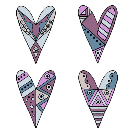 Set of vector hand drawn decorative stylized childish hearts. Doodle style, tribal graphic illustration. Ornamental cute hand drawing in blue, pink colors Series of doodle cartoon sketch illustrations Illustration
