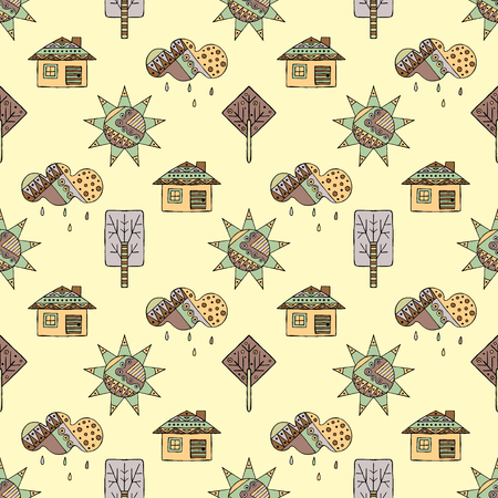 ethno: Vector hand drawn seamless pattern, decorative stylized childish house, tree, sun, cloud, rain Doodle style, graphic illustration Childlike cute cartoon, hand drawing in vintage brown colors. Illustration