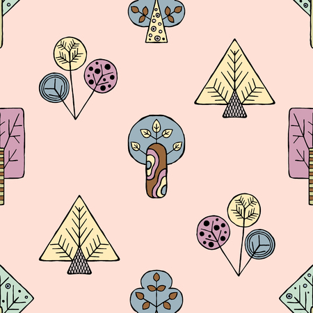 Vector hand drawn seamless pattern, decorative stylized childish trees. Doodle style, tribal graphic illustration. Ornamental cute hand drawing Series of doodle, cartoon, sketch seamless patterns Vettoriali