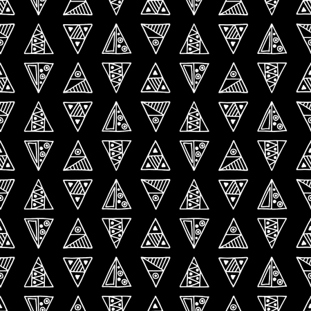 ethno: Seamless vector pattern. Black and white geometrical background with hand drawn decorative tribal elements. Print with ethnic, folk, traditional motifs. Graphic vector illustration.