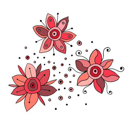 Set of vector hand drawn childish flowers Cute childlike Doodle, sketch, cartoon style. Line drawing. Graphic illustration Illustration