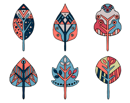Set of vector hand drawn decorative stylized childish leaves. in pink, blue colors Doodle style, graphic illustration. Ornamental cute line drawing. Series of doodle, cartoon, sketch illustrations.
