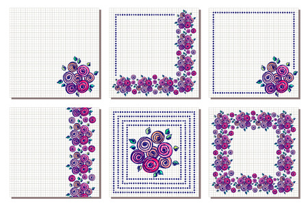 blanks: Set of vector floral frame, card, border. Greeting cards. Different template with colorful hand drawn flowers and leaves. Graphic illustration. Vector design. Series of Cards, Blanks and Forms.