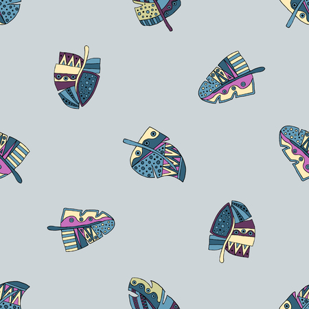 ethno: Vector hand drawn seamless pattern, decorative stylized childish feather in the shape of tree. Doodle style, tribal graphic illustration. Ornamental cute hand drawing Series of doodle patterns