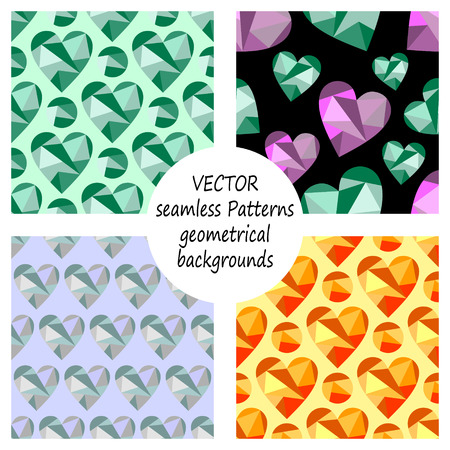 Set of vector seamless patterns with abstract geometric hearts. Polygonal design. Geometric triangular origami style, graphic illustration. Series of Love Seamless Patterns.