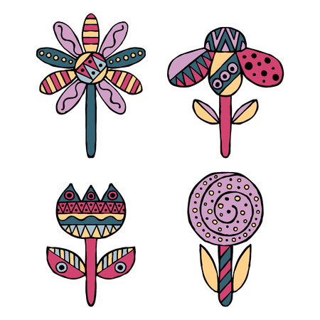 ethno: Set of vector hand drawn decorative stylized childish flowers. Doodle style, graphic illustration. Ornamental cute hand drawing in pink, blue colors. Series of doodle, cartoon, sketch illustrations.