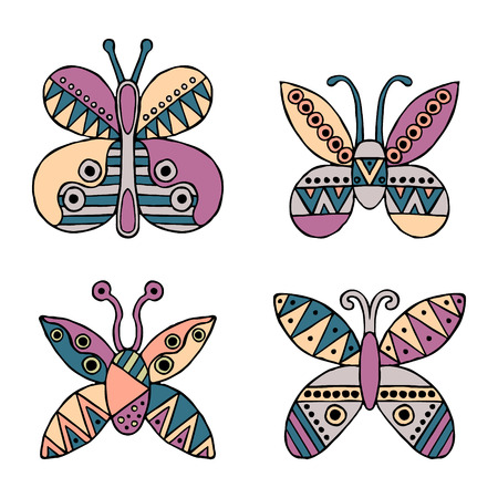 ethno: Set of vector hand drawn decorative stylized childish butterflies. Doodle style, graphic illustration. Ornamental cute hand drawing in pink, blue colors. Series of doodle, cartoon, sketch