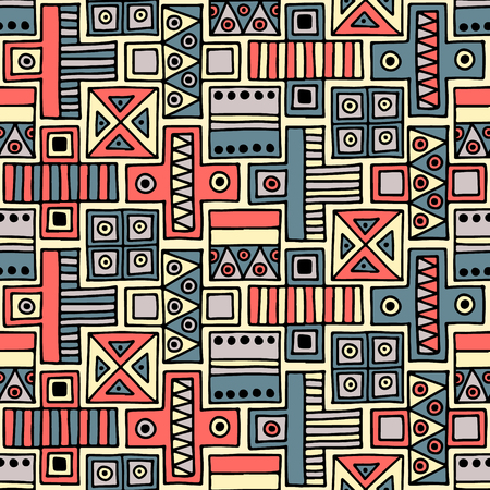 ethno: Seamless vector pattern. Colorful geometrical background with hand drawn decorative tribal elements. Print with ethnic, folk, traditional motifs. Graphic vector illustration.