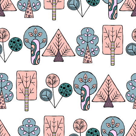 ethno: Vector hand drawn seamless pattern, border decorative stylized childish trees, house doodle style, tribal graphic illustration Ornamental cute hand drawing Series of doodle seamless patterns