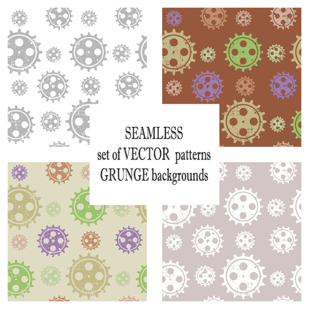 Set of vector seamless patterns with mechanism of watch. Creative geometric grunge backgrounds with gear wheel. Texture with cracks, ambrosia, scratches, attrition. Graphic illustration.