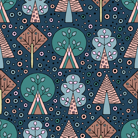 Vector hand drawn seamless pattern, decorative stylized childish trees. Doodle style, tribal graphic illustration. Ornamental cute hand drawing Series of doodle, cartoon, sketch seamless patterns Vector Illustration
