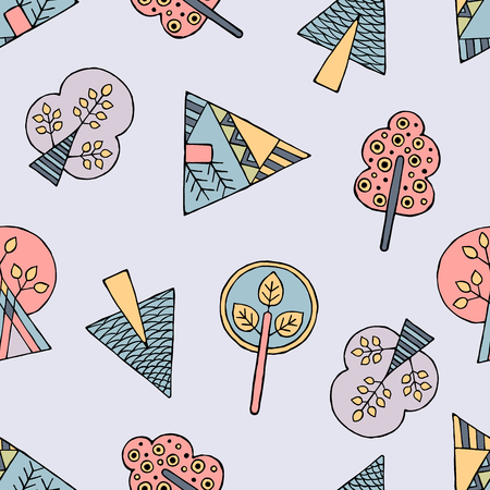 ethno: Vector hand drawn seamless pattern, decorative stylized childish trees. Doodle style, tribal graphic illustration. Ornamental cute hand drawing Series of doodle, cartoon, sketch seamless patterns Illustration