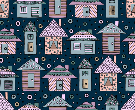 Vector hand drawn seamless pattern, decorative stylized childish houses Doodle style, graphic illustration Ornamental cute hand drawing Series of doodle, cartoon, sketch illustrations Illustration