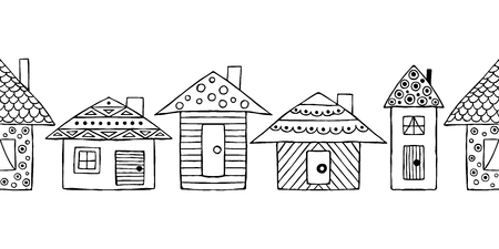 Vector hand drawn seamless pattern, decorative stylized black and white childish houses. Doodle sketch style, graphic illustration, background. Ornamental cute hand drawing. Line drawing.