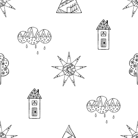 ethno: Vector hand drawn seamless pattern, decorative stylized black and white childish houses, trees, sun, cloud. Doodle sketch style, graphic illustration, background. Ornamental cute hand drawing. Line drawing. Illustration