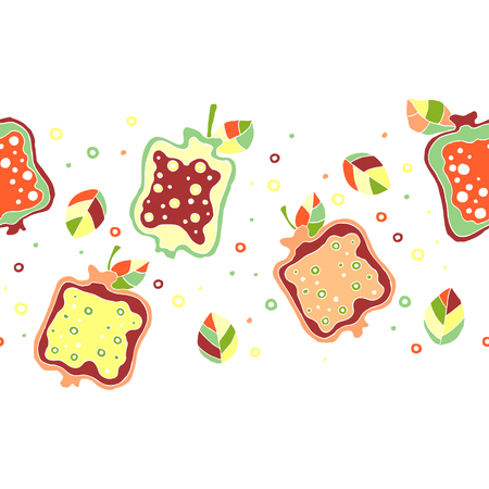 grapefruit juice: Seamless vector hand drawn childish pattern, border with fruits. Cute childlike pomegranate with leaves, seeds, drops. Doodle, sketch, cartoon style background. Endless repeat swatch Illustration