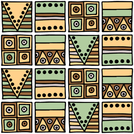 ethno: Seamless vector pattern. Geometrical background with hand drawn decorative tribal elements in brown colors. Print with ethnic, folk, traditional motifs. Graphic vector illustration.