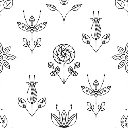 ethno: Vector hand drawn seamless pattern, decorative stylized black and white childish flowers. Doodle sketch style, graphic illustration, background. Ornamental cute hand drawing. Line drawing.