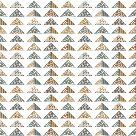Seamless vector pattern. Geometrical background with hand drawn decorative tribal elements in vintage brown pastel colors. Print with ethnic, folk, traditional motifs. Graphic vector illustration.