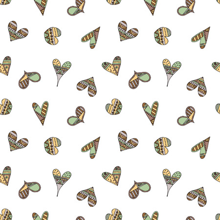 Vector hand drawn seamless pattern, decorative stylized childish hearts. Doodle style, tribal graphic illustration Cute hand drawing in vintage colors. Series of doodle, cartoon, sketch illustrations