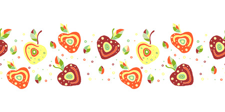 Seamless vector hand drawn childish pattern, border with fruits. Cute childlike cherry with leaves, seeds, drops. Doodle, sketch, cartoon style background. Endless repeat swatch