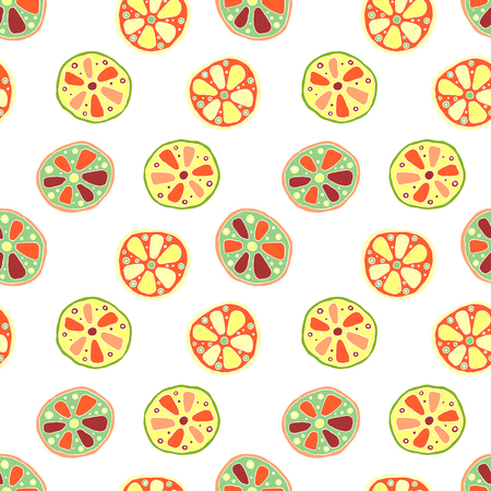 Seamless vector hand drawn childish pattern, border, with fruits. Cute childlike lime, lemon, orange, grapefruit with leaves, seeds, drops. Doodle, sketch, cartoon style background.