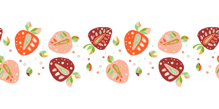 Seamless vector hand drawn childish pattern, border, with fruits. Cute chaildlike strawberries with leaves, seeds, drops. Doodle, sketch, cartoon style background. Endless repeat swatch Illustration