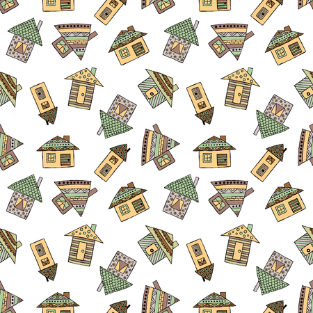 Vector hand drawn seamless pattern, decorative stylized childish houses Doodle style, graphic illustration Ornamental cute hand drawing in brown colors. Series of doodle, cartoon, sketch illustrations