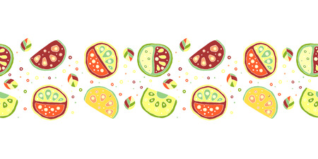 Seamless vector hand drawn childish pattern, border, with fruits. Cute childlike watermelon with leaves, seeds, drops. Doodle, sketch, cartoon style background. Endless repeat swatch Illustration