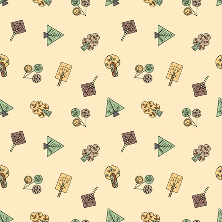 Vector hand drawn seamless pattern, decorative stylized childish trees. Doodle style, tribal graphic illustration. Ornamental cute hand drawing Series of doodle, cartoon, sketch seamless patterns Illustration
