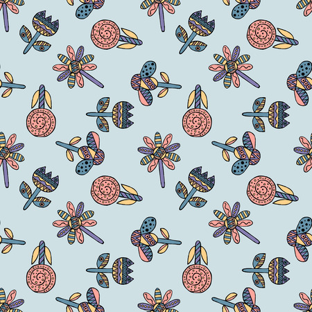 Vector seamless hand drawn pattern, decorative stylized childish flowers Doodle style, graphic illustration Ornamental cute hand drawing Series of doodle, cartoon, sketch illustrations
