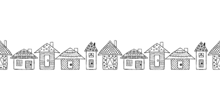 Vector hand drawn seamless pattern, border Decorative stylized childish houses Doodle style, graphic illustration cute hand drawing Series of doodle, cartoon, sketch illustrations Illustration