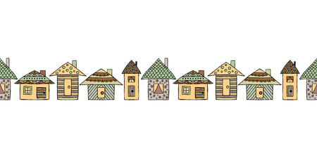 Vector hand drawn seamless pattern, border. decorative stylized childish houses Doodle style, graphic illustration Ornamental cute hand drawing in brown colors. Series of doodle, sketch illustrations