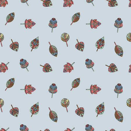 Vector hand drawn seamless pattern, decorative stylized childish leaves. Doodle style, tribal graphic illustration. Ornamental cute hand drawing Series of doodle, cartoon, sketch seamless patterns Illustration