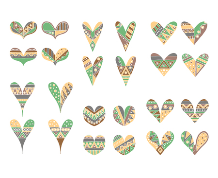 Set of vector hand drawn decorative stylized childish hearts. Doodle style, tribal graphic illustration. Ornamental cute hand drawing Series of doodle cartoon sketch illustrations