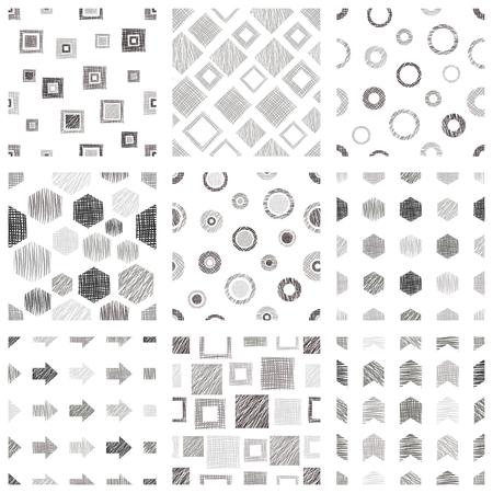 Set of geometrical patterns.