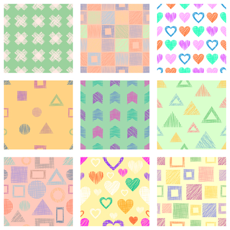 Set of seamless vector geometrical patterns with different geometric figures, forms. Pastel endless background with hand drawn textured geometric figures.
