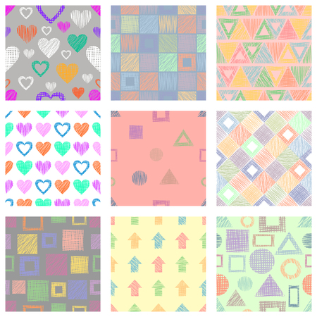 Set of seamless vector geometrical patterns with different geometric figures, forms. Çizim