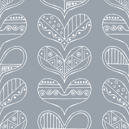 Vector hand drawn seamless pattern, decorative stylized childish hearts. Illustration
