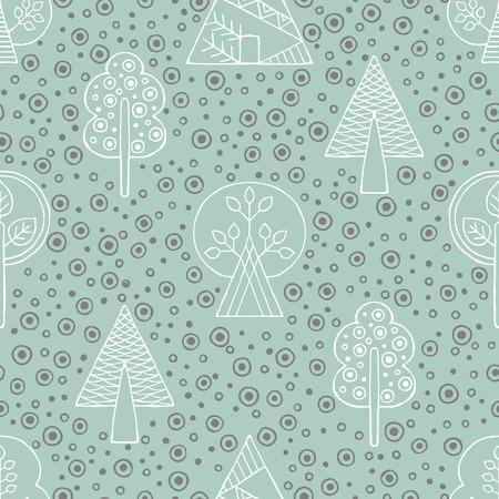 Vector hand drawn seamless pattern, decorative stylized childish trees. Vector Illustration