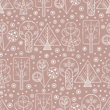 Vector hand drawn seamless pattern, decorative stylized childish trees. Illustration
