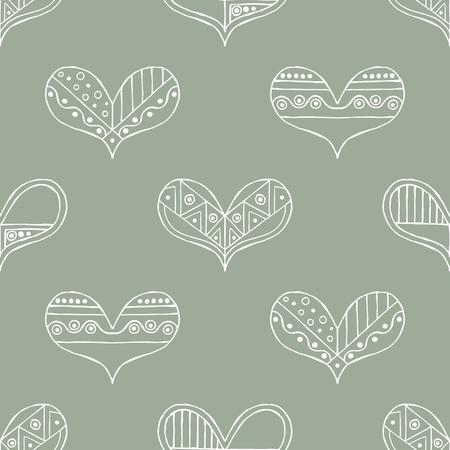 Vector hand drawn seamless pattern, decorative stylized childish hearts.