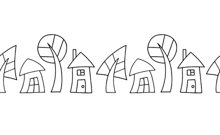 Seamless vector decorative hand drawn black and white pattern with trees and houses. Graphic illustration.