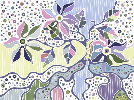 Vector hand drawn colorful illustration with decorative psychedelic tree with branch, leaves, flowers, dots. Cute abstract background. Line drawing.