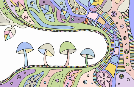 Vector colorful hand drawn illustration of psychedelic abstract tree, flowers, leaves, dots, mushrooms, background Decorative artistic creative picture, line drawing. Picture for coloring Ilustracja