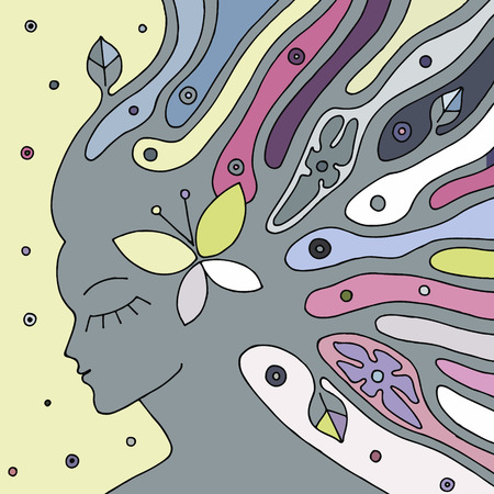 Vector  hand drawn illustration of psychedelic woman face with abstract tree, flowers, leaves, dots, butterfly, background Decorative artistic creative picture, line drawing. Coloring