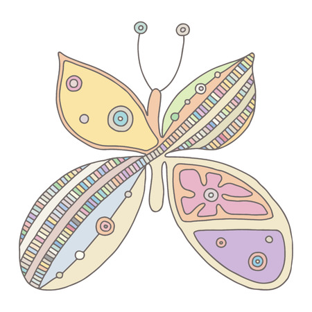 Vector hand drawn colorful illustration of isolated butterfly with decorative geometrical elements, lines, dots. Picture for coloring. Line drawing. Graphic illustration